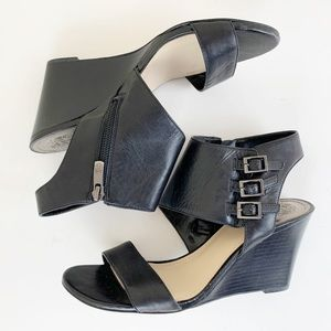 Vince Camuto Lyssia Black Leather Wedge Sandal